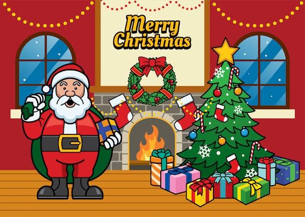 De groetillustratie van kerstmis met cartoonsanta en kerstmis