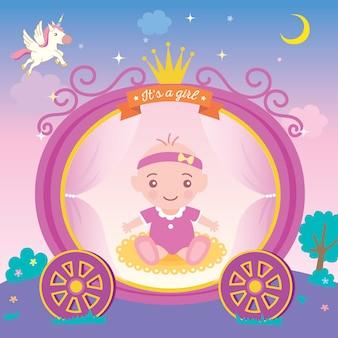De groetkaart van de babydouche voor nieuw - geboren meisjes met prinseskar en kroon op nachtbackgro