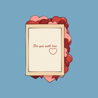 De groetkaart van de valentijnskaart met harten