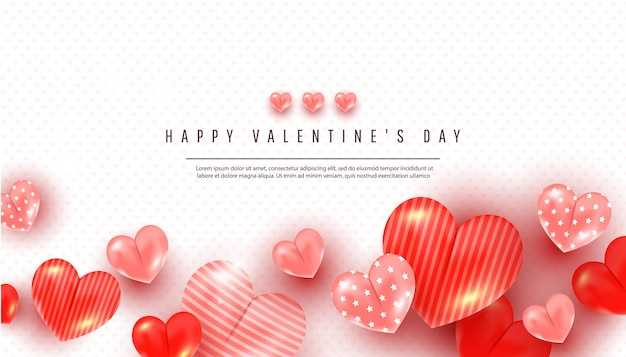 De groetkaart van de valentijnskaartendag met 3d vormen van het liefdehart van verschillende grootte en tekst op wit