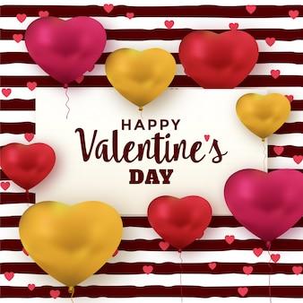De groetkaart van de valentijnskaartendag met hartballons