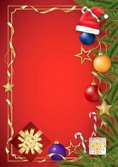 De groetkaart van kerstmis op rode achtergrond met decoratie