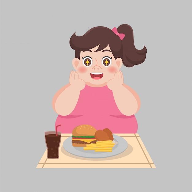 De grote gelukkige vrouw geniet van eet snel voedsel