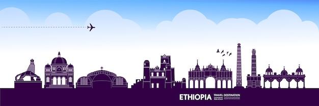 De grote illustratie van de reisbestemming van ethiopië