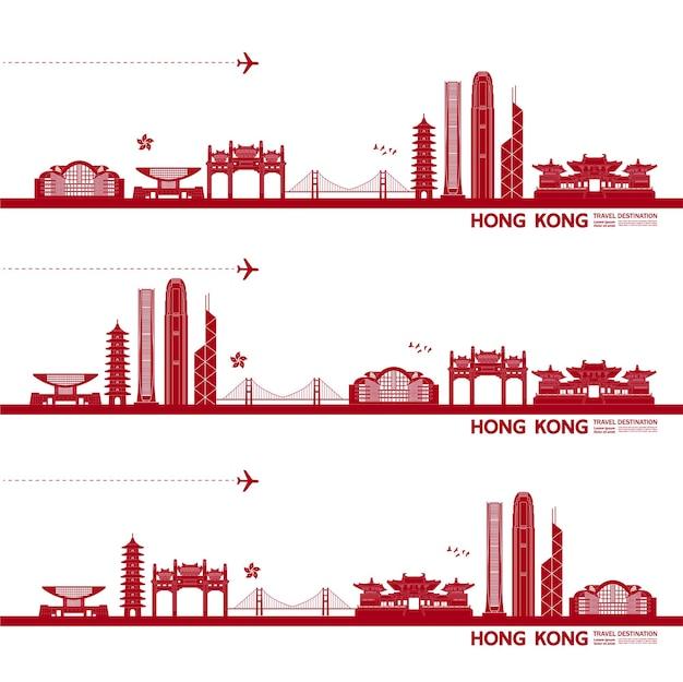 De grote illustratie van de reisbestemming van hongkong.