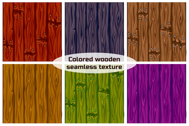 De grote reeks naadloze textuur als achtergrond kleurde houten. illustratie