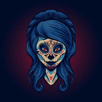 De halloween-illustratie van het spookmeisje