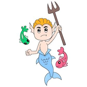 De halve vissenmens wordt de ridder van de oceaanwacht, vectorillustratieart. doodle pictogram afbeelding kawaii.