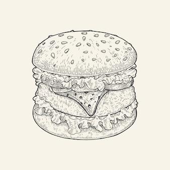 De hamburgerhand die uitstekende stijl trekken, de illustratie van de hamburgertekening isoleert op witte achtergrond