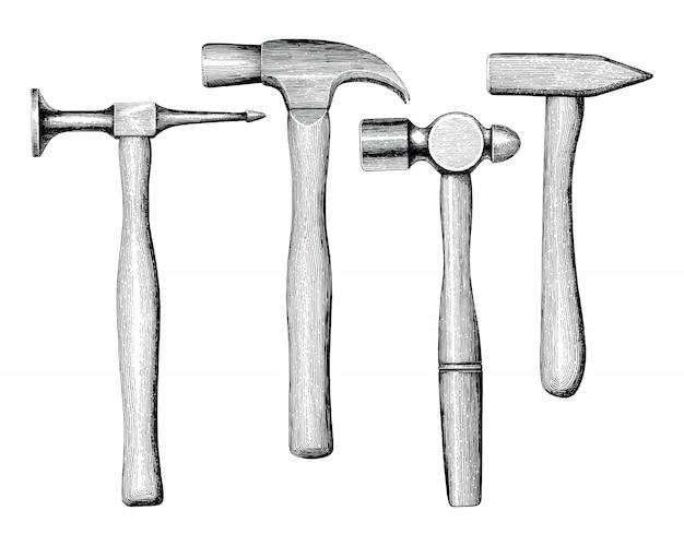 De hamershand die uitstekende stijl trekken isoleert op witte achtergrond