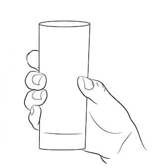 De hand die van de vrouw een leeg glas op wit van zwart-wit houdt