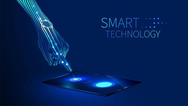 De hand drukt de vinger op het aanraakscherm op de tablet of smartphone