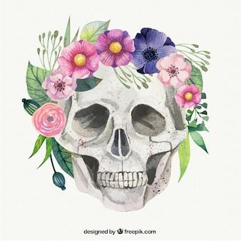 De hand geschilderde schedel met bloemen