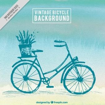 De hand geschilderde vintage fiets achtergrond