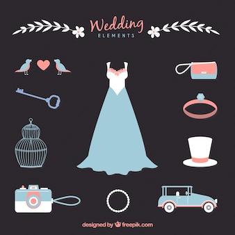 De hand getekend bruiloft accessoires in blauw en roze kleuren