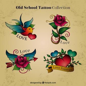 De hand getekend gekleurde tatoeages