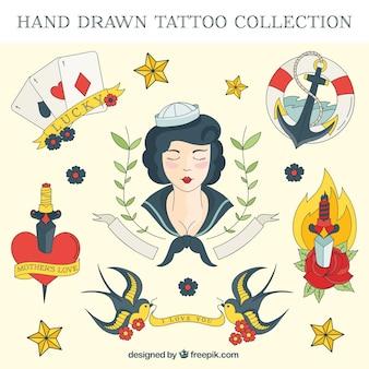 De hand getekend gekleurde zeiler tattoo set