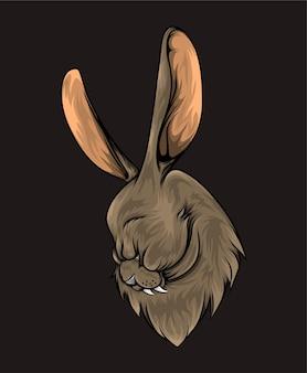 De hand getekend van konijnenhoofd met de grote en lange oren