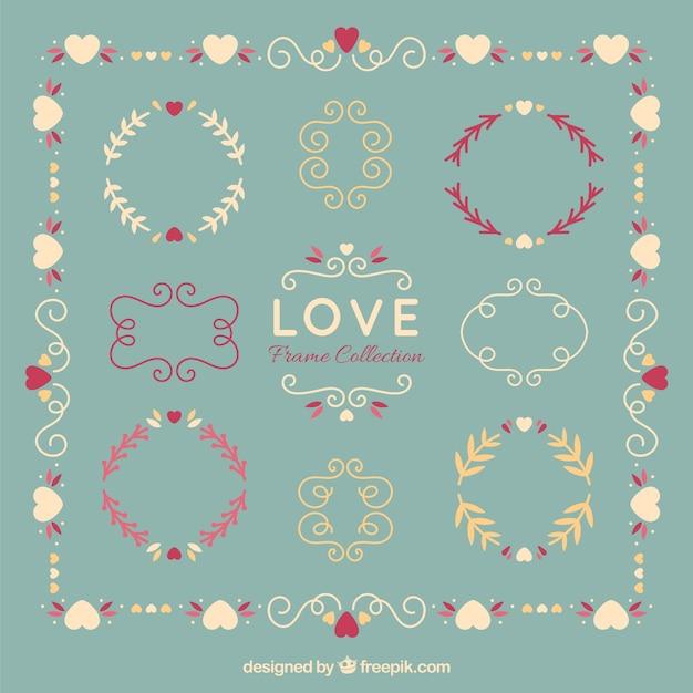 De hand getekende bloemen liefde geplaatste frames