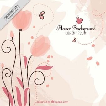 De hand getekende bloemen roze achtergrond