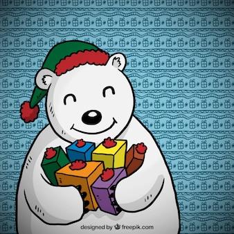 De hand getekende cartoon ijsbeer met giften