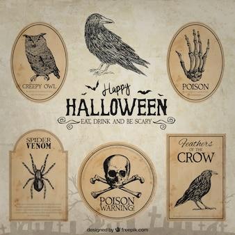 De hand getekende halloween badges