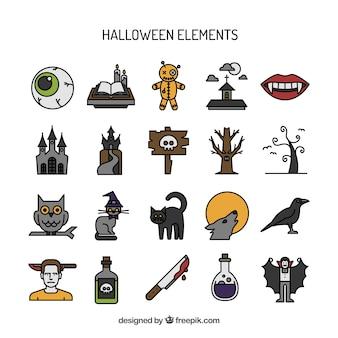 De hand getekende halloween elementen set