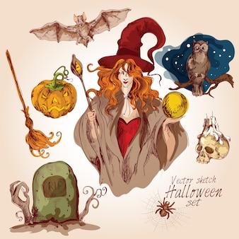 De hand getekende halloween elementen