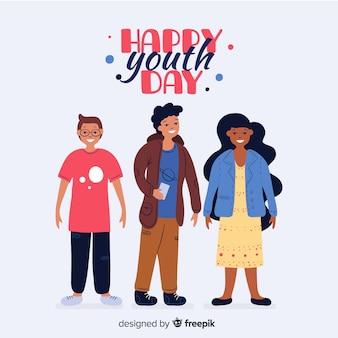 De hand getrokken achtergrond van de de jeugddag met jonge mensen