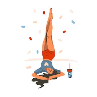 De hand getrokken grafische illustratie met glimlachend jong vrouwelijk meisje heft thuis haar benen op en geïsoleerde confettien