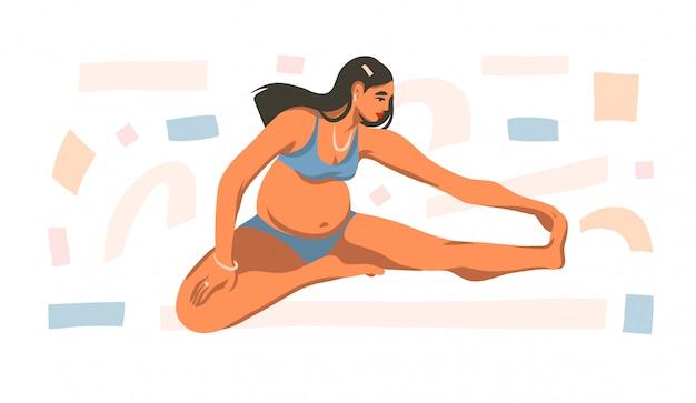 De hand getrokken illustratie met jong gelukkig zwanger wijfje doet thuis online fysieke oefeningen op witte achtergrond