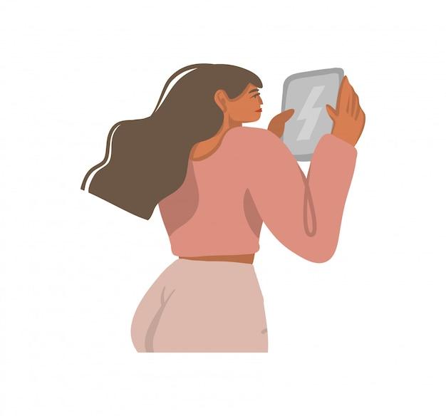 De hand getrokken inzameling van voorraad abstracte grafische illustraties die met jong meisje wordt geplaatst gebruikt tabletcomputer op witte achtergrond