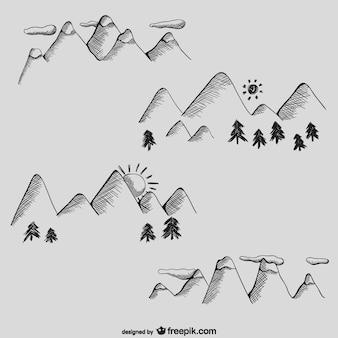 De hand getrokken leuke bergen