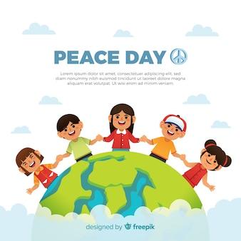 De hand getrokken samenstelling van de vredesdag met kinderen die handen houden