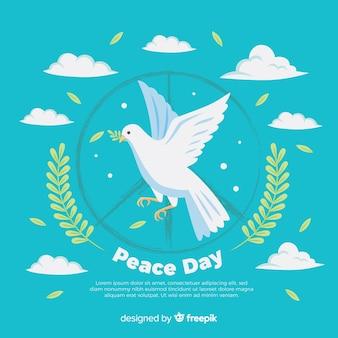 De hand getrokken samenstelling van de vredesdag met mooie duif