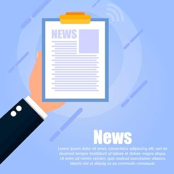 De hand houdt de tablet met nieuws