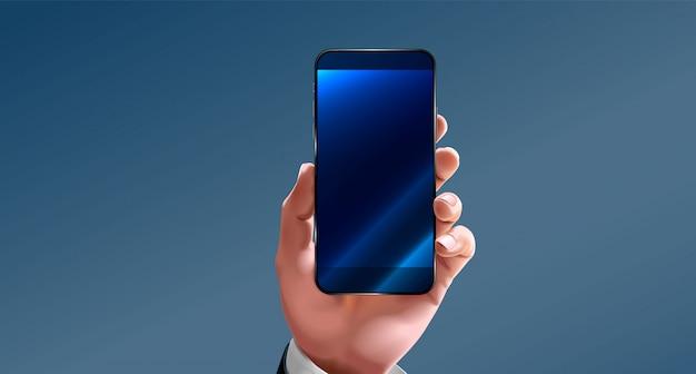 De hand houdt het scherm met de smartphone en de vingeraanraking vast