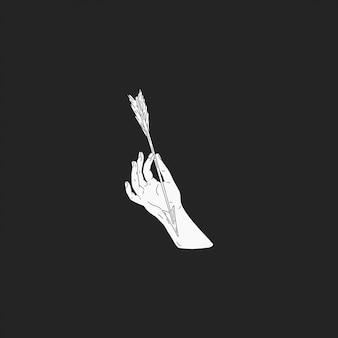 De hand met pijl