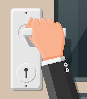 De hand opent de deur. gesloten deur met chromen handgreep. concept van uitnodiging om binnen te komen of nieuwe kans. platte vectorillustratie