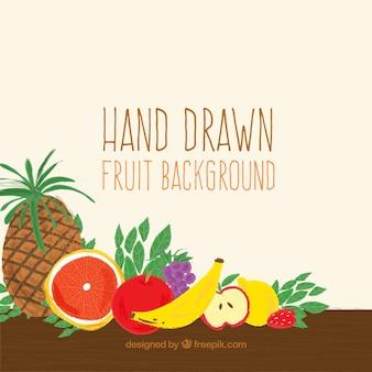 De hand trekt fruit achtergrond