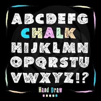 De hand trekt krijt lettertype