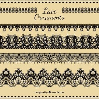 De hand trekt lace ornamenten