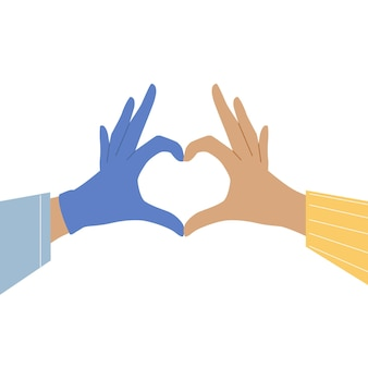 De hand van de arts en de hand van de patiënt vormen een hartsymbool. medisch zorgconcept. bannerontwerp.