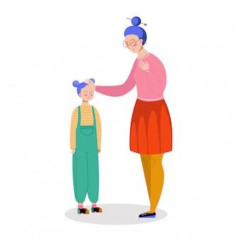 De hand van de karaktermoeder meet dochtertemperatuur, zieke kinderen op hoge temperatuur op wit, illustratie.