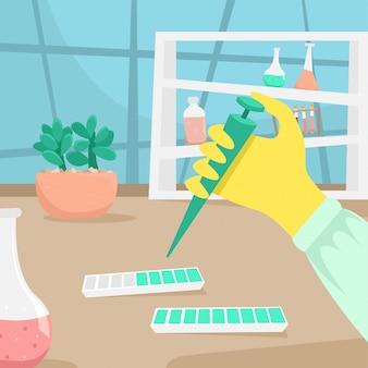 De hand van een chemicus of bioloog in een rubberen handschoen doet onderzoek. virale ziekte. epidemie. chemicus, onderzoek, vaccin, uitvinding