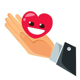 De hand van een man in de palm waarvan een rood hart met een glimlach. vlakke stijlvector.