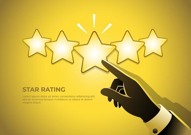 De hand van een zakenman die vijf sterren geeft beoordeling van productbeoordelingen van vijf sterren