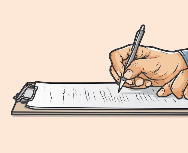 De handen van de zakenman schrijven op het klembord