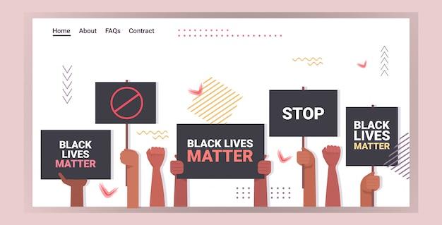De handen van demonstranten met een zwart leven zijn belangrijk voor de bewustmakingscampagne tegen raciale discriminatie