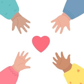 De handen van kinderen reiken naar hart en naar elkaar. Premium Vector